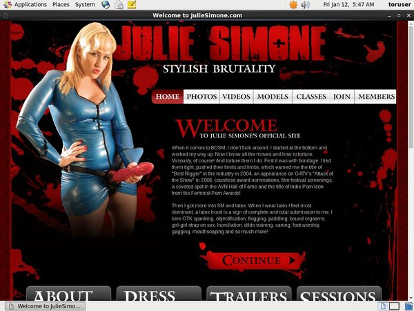 Juliesimone.com Website Accounts
